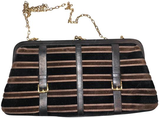 Saks Fifth Avenue Velour Velvet Buckle Kiss Lock Leather Black & Brown Clutch Image 0