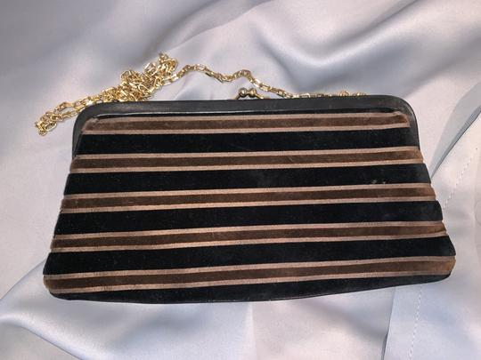 Saks Fifth Avenue Velour Velvet Buckle Kiss Lock Leather Black & Brown Clutch Image 1