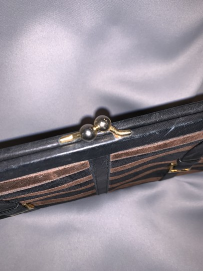 Saks Fifth Avenue Velour Velvet Buckle Kiss Lock Leather Black & Brown Clutch Image 3
