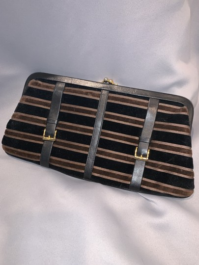 Saks Fifth Avenue Velour Velvet Buckle Kiss Lock Leather Black & Brown Clutch Image 4