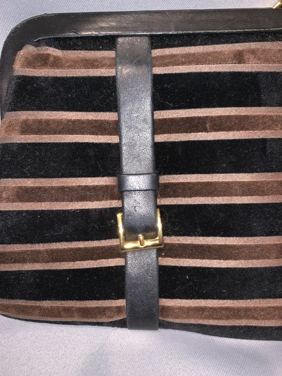 Saks Fifth Avenue Velour Velvet Buckle Kiss Lock Leather Black & Brown Clutch Image 5