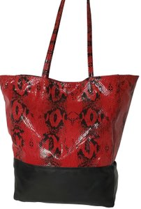 Margot Leather Snake Embossed Tote in Black & Red