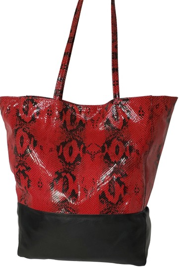 Preload https://img-static.tradesy.com/item/24892892/margot-snake-embossed-two-tone-black-and-red-leather-tote-0-2-540-540.jpg