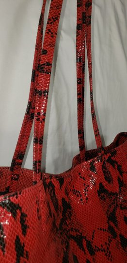 Margot Leather Snake Embossed Tote in Black & Red Image 2