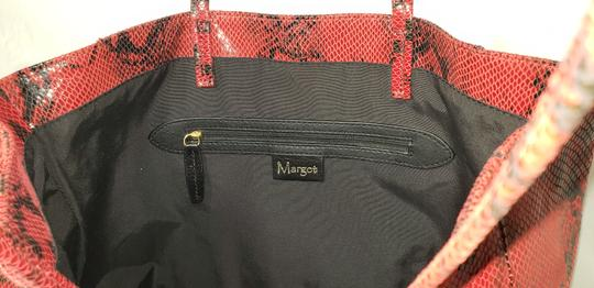 Margot Leather Snake Embossed Tote in Black & Red Image 5