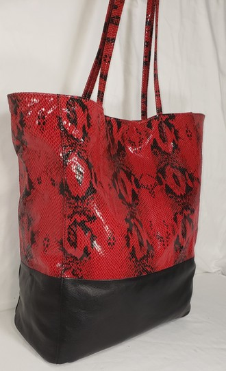 Margot Leather Snake Embossed Tote in Black & Red Image 6