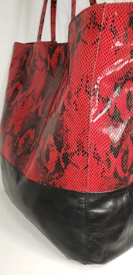 Margot Leather Snake Embossed Tote in Black & Red Image 7