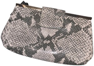Banana Republic Snakeskin Embossed Leather Chain Palomino/Gray Clutch