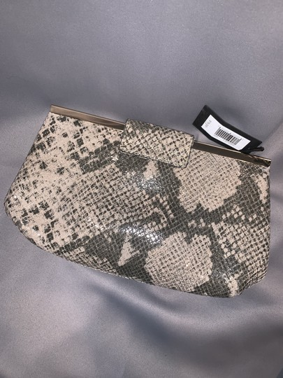 Banana Republic Snakeskin Embossed Leather Chain Palomino/Gray Clutch Image 3