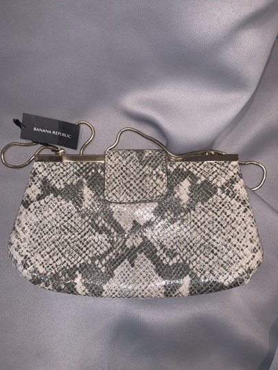 Banana Republic Snakeskin Embossed Leather Chain Palomino/Gray Clutch Image 4