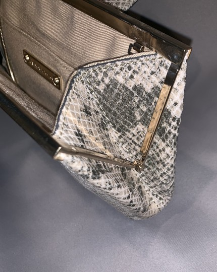 Banana Republic Snakeskin Embossed Leather Chain Palomino/Gray Clutch Image 5
