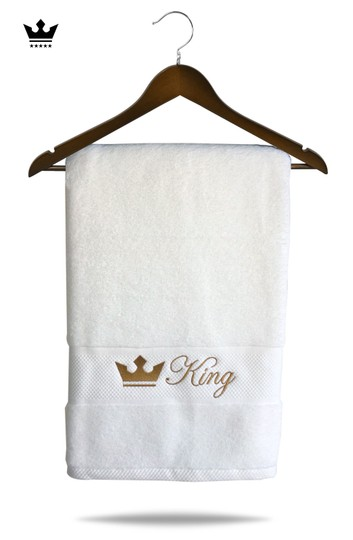 White Couple - King and Queen Cotton Matching Towels Set Bath Accessory