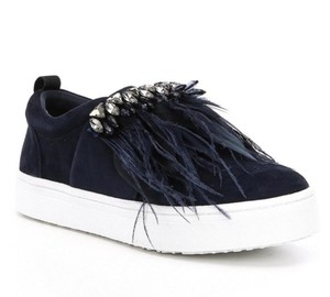 d09d110bbc4258 Sam Edelman Studded Casual Night Out Navy Blue Crystal Satin Feather  Athletic