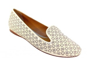 7979dc89332c83 Tory Burch Patent Leather Linen Smoking Slippers Ivory Flats