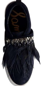 Sam Edelman Studded Casual Night Out Navy Blue Crystal Satin/Feather Athletic