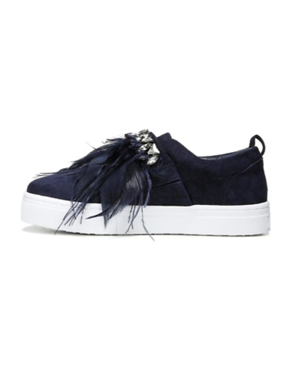 Sam Edelman Studded Casual Night Out Navy Blue Crystal Satin/Feather Athletic Image 10