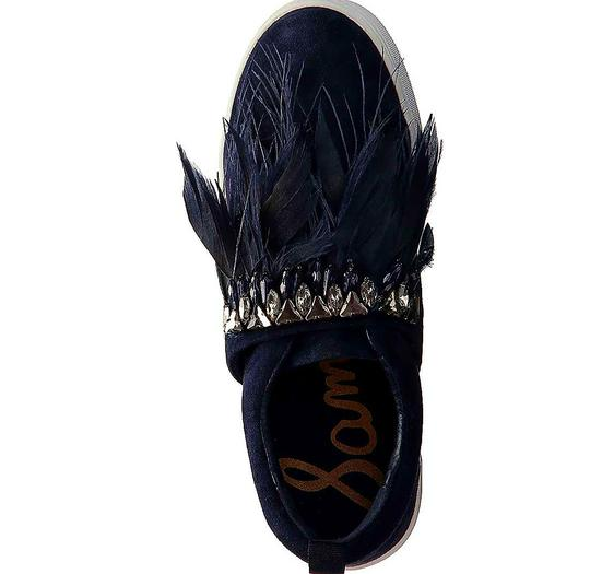 Sam Edelman Studded Casual Night Out Navy Blue Crystal Satin/Feather Athletic Image 3