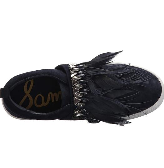 Sam Edelman Studded Casual Night Out Navy Blue Crystal Satin/Feather Athletic Image 4
