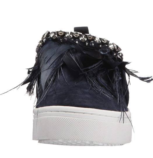 Sam Edelman Studded Casual Night Out Navy Blue Crystal Satin/Feather Athletic Image 7