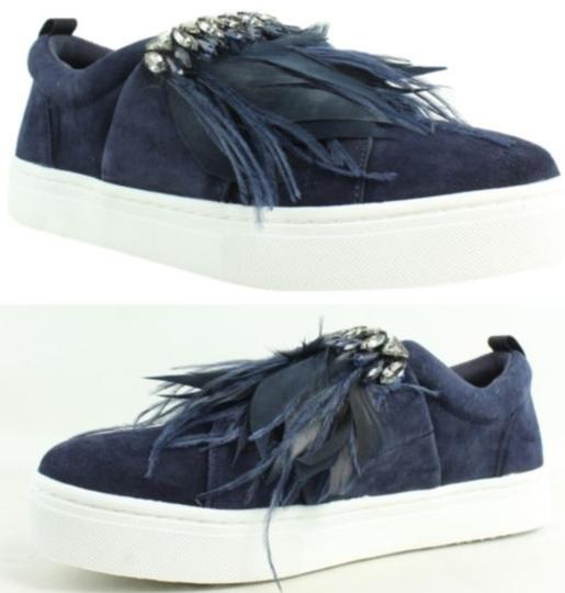 Sam Edelman Studded Casual Night Out Navy Blue Crystal Satin/Feather Athletic Image 8