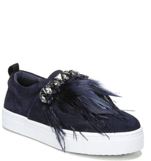 Sam Edelman Studded Casual Night Out Navy Blue Crystal Satin/Feather Athletic Image 9