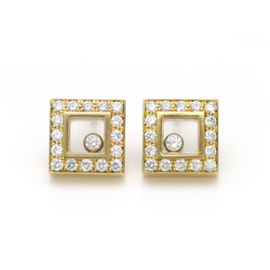 Chopard Happy Diamond 18k Yellow Gold Square Diamond Bezel Stud Earrings