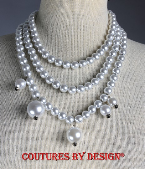 St. John St John Faux Pearl Silver 3 Stranded Necklace Image 2