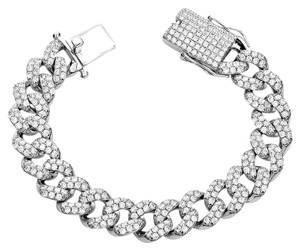 Harlembling Mens Miami Cuban Link Bracelet Real Solid 925 Silver HEAVY 15mm Iced