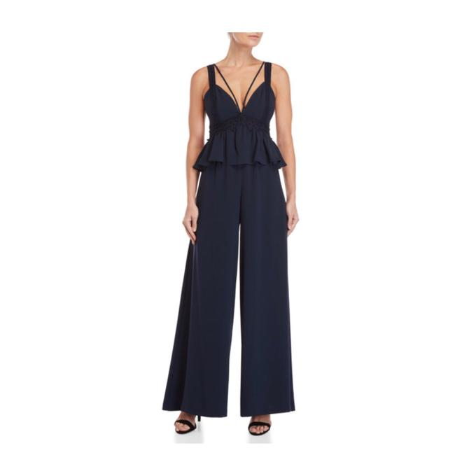 Item - Dark Navy New Crepe Embroidered Peplum Jumpsuit Long Cocktail Dress Size 0 (XS)