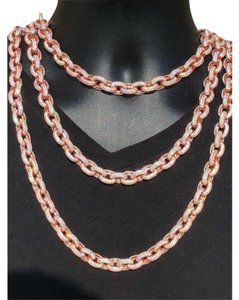 Harlembling Rose Gold Over Solid 925 Sterling Silver Mens Thick Heavy Rolo Chain