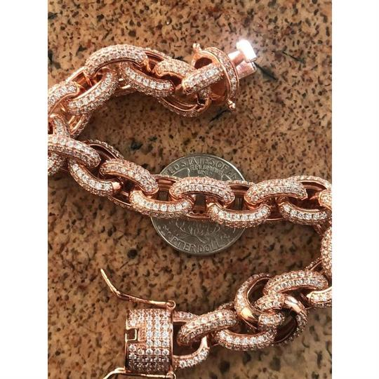 Harlembling Rose Gold Over Solid 925 Sterling Silver Mens Thick Heavy Rolo Chain Image 6