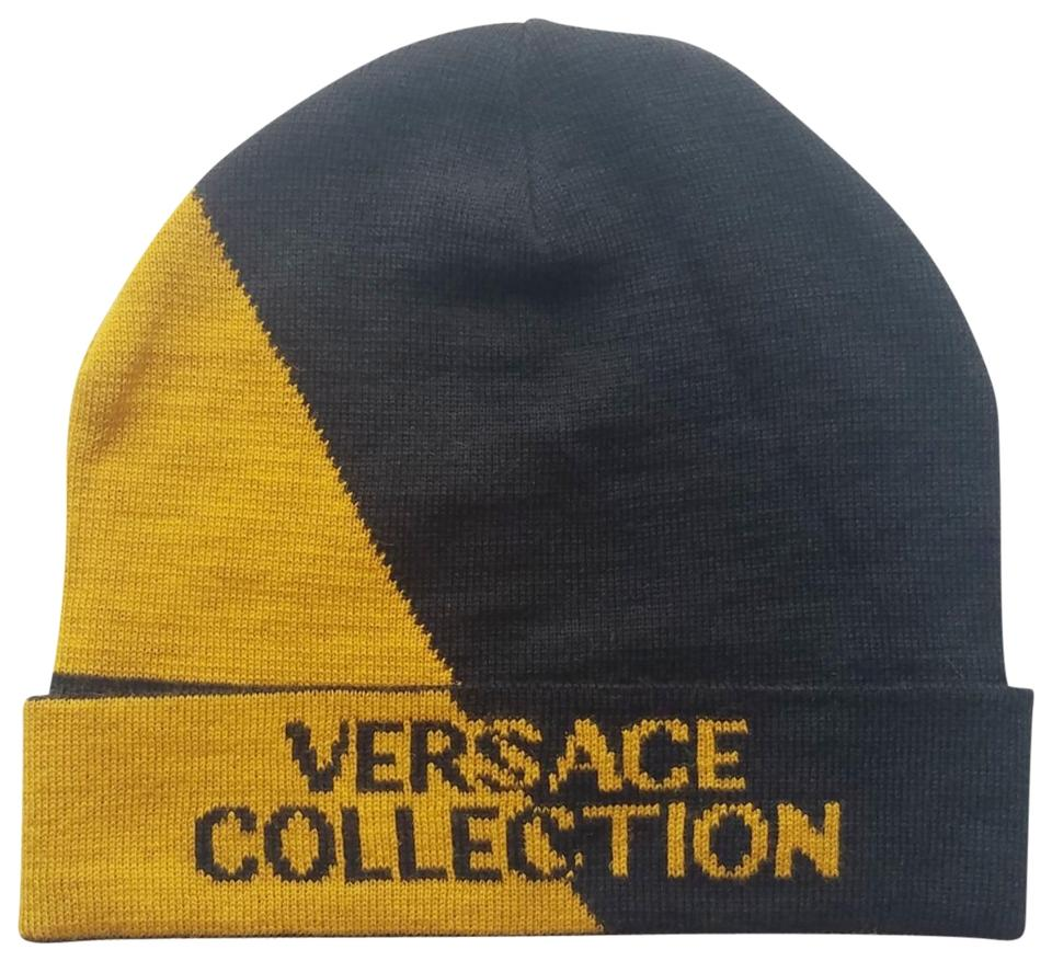 Versace Collection Black and Golden Yellow Wool-blend Beanie Hat ... 882a4a267f6b