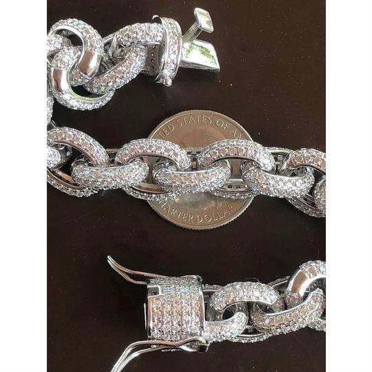 Harlembling Solid 925 Sterling Silver Mens Thick Heavy Rolo Chain Diamonds ICED Image 4