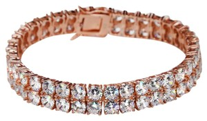 Harlembling 10mm Thick Two Row Tennis Bracelet Rose Gold Solid 925 Silver 6-9