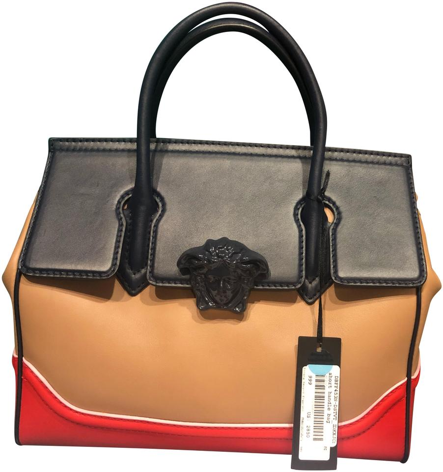 3ccc13d0d8ef Versace Palazzo Empire Medusa Hans Red Brown and Navy Blue Leather Satchel