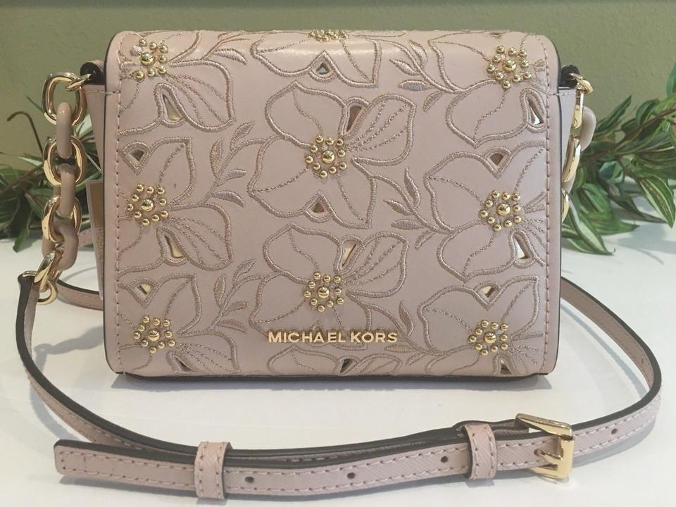 e16f40e63d90 Michael Kors Sofia Small Stud Floral Pink Leather Cross Body Bag ...