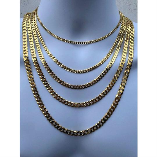 Harlembling 14k Gold Over REAL Solid 925 Silver Cuban Link Flat Chain 4-8mm 18-30