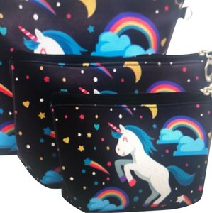 Expressions unicorn rainbow mythical print 3 pack Cosmetic Toiletry mAkeup Organizer Storage bag set