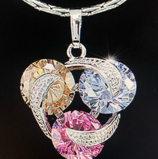 Unique Para Designs multicolor Diamond gemstone 3 round knot twist vintage trinity silver necklace earring and ring jewelry engagement bridal set Image 2