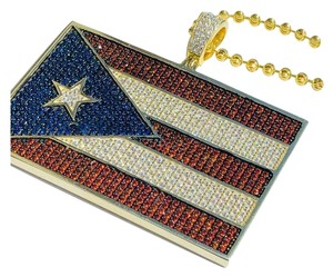 Harlembling 14k Gold Over Solid 925 Silver 5ct Diamond Puerto Rico Flag Pendant