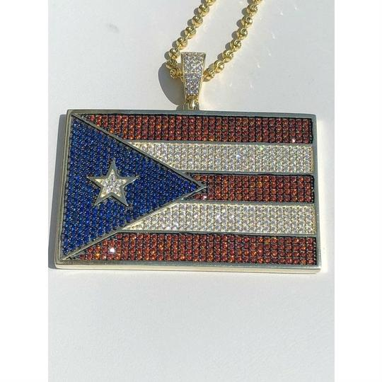 Harlembling 14k Gold Over Solid 925 Silver 5ct Diamond Puerto Rico Flag Pendant Image 1
