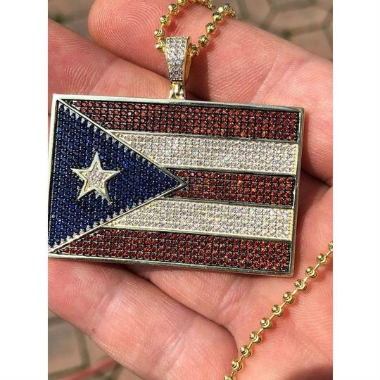 Harlembling 14k Gold Over Solid 925 Silver 5ct Diamond Puerto Rico Flag Pendant Image 3