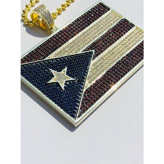 Harlembling 14k Gold Over Solid 925 Silver 5ct Diamond Puerto Rico Flag Pendant Image 5
