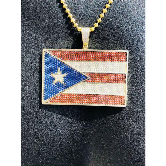 Harlembling 14k Gold Over Solid 925 Silver 5ct Diamond Puerto Rico Flag Pendant Image 6