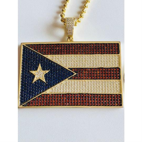 Harlembling 14k Gold Over Solid 925 Silver 5ct Diamond Puerto Rico Flag Pendant Image 7
