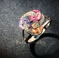 Unique Designs vintage multicolor diamond gemstone knot twist trinity infinity 3 round stone silver necklace earring ring jewelry engagement bridal wedding set Image 8