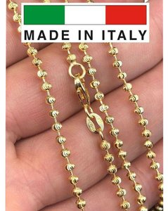 Harlembling 14K Gold Over Solid 925 Silver Ball Moon Diamond Cut Chain