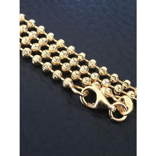 Harlembling 14K Gold Over Solid 925 Silver Ball Moon Diamond Cut Chain Image 1