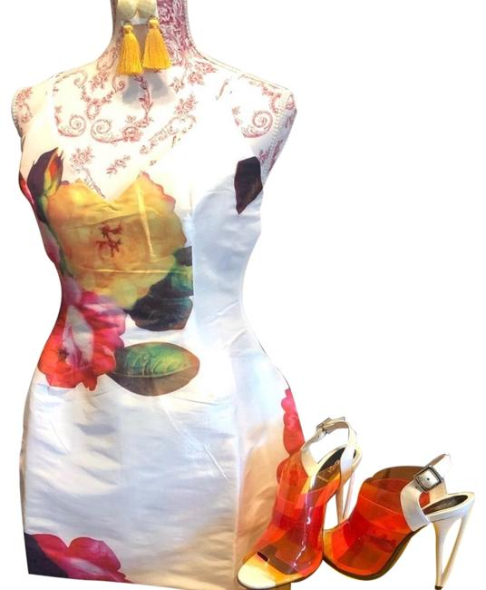 Item - White and Colored Florals Fit Flare Mini Short Cocktail Dress Size 4 (S)