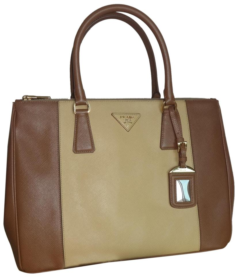 Prada Lux B2274c Saffiano Shoulder Caramel+gine Leather Cross Body ... 22a6d8c72e345